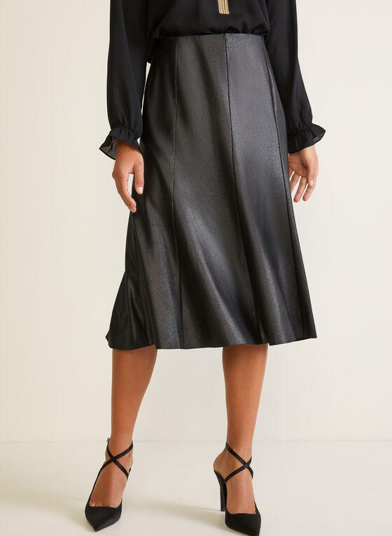 Foiled Faux Suede A-Line Skirt, Black