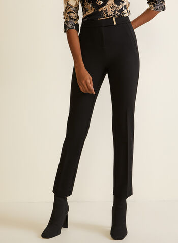 City Fit Belted Pants, Black,  fall winter 2020, mid rise, metallic detail, straight leg, city fit, faux welt pockets