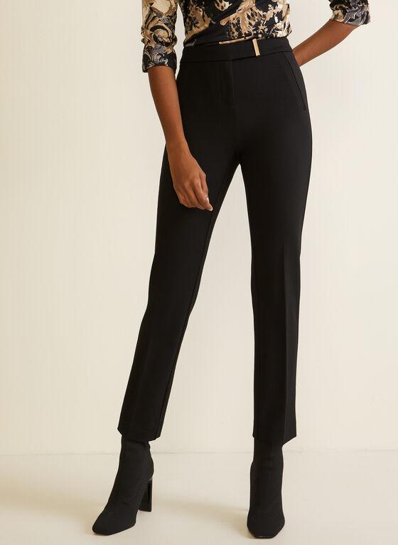 Pantalon coupe cité à taille ceinturée, Noir