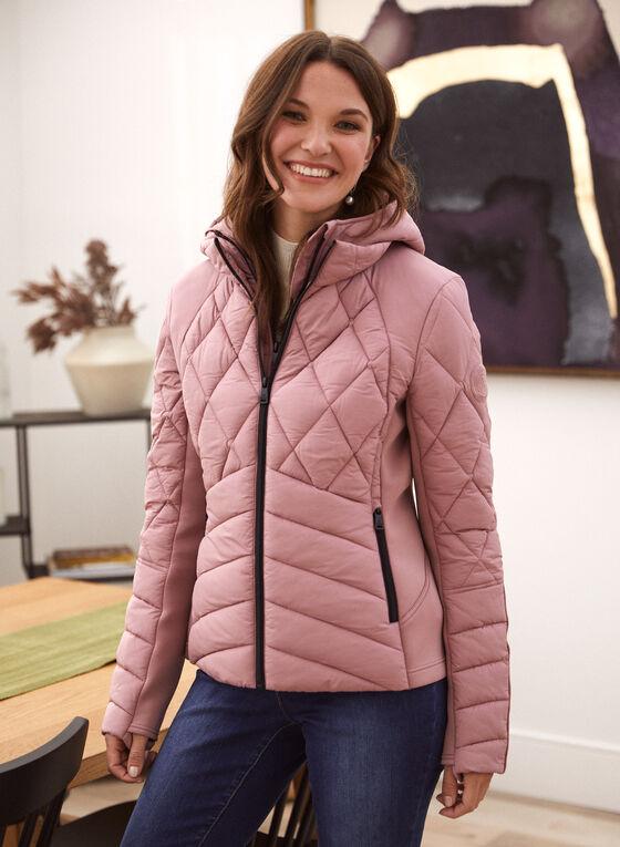 Bernardo - Chevron Quilted Ecoplume™ Coat, Pink