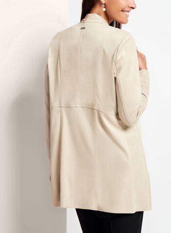 Faux Suede Cascade Jacket, White, hi-res