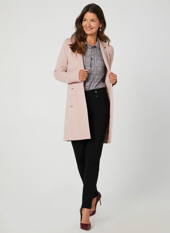 Long Notched Lapel Collar Blazer, Purple, hi-res,  long jacket, edge-to-edge front, long blazer