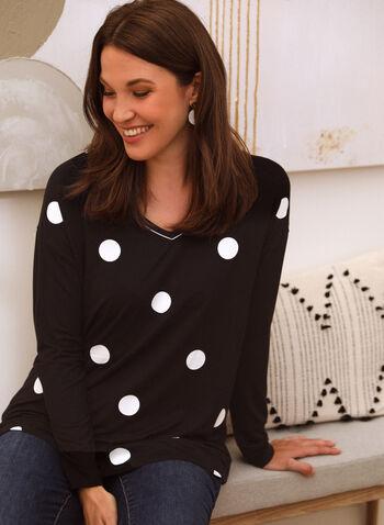 Polka Dot Print Tunic Tee, Black,  top, t-shirt, tunic, polka dot, long sleeves, v-neck spring summer 2021