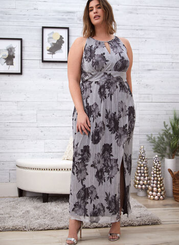 Floral Print Chiffon Dress, Silver,  fall 2021, dress, day dress, occasion dress, long, halter neck, keyhole opening, sleeveless, pleated, details, flowy, fit, flare, side slit, chiffon, light, fabric, floral, flowers, print, pattern