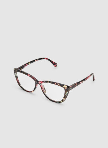Floral Print Cat Eye Glasses, Black, hi-res