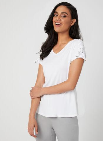 T-shirt en coton et détails lacets, Blanc, hi-res