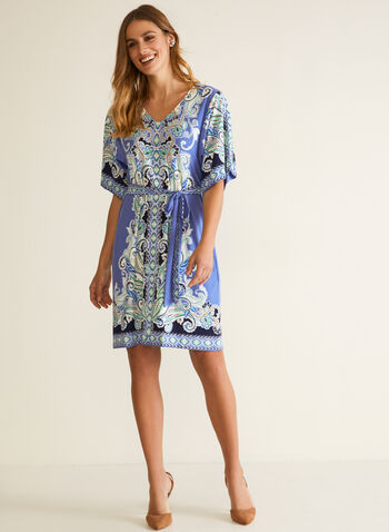 Sandra Darren - Paisley Print Kimono Dress, Blue,  fall winter 2020, dress, kimono, paisley print, jersey, soft, stretchy, straight cut, holiday, holiday 2020, gift