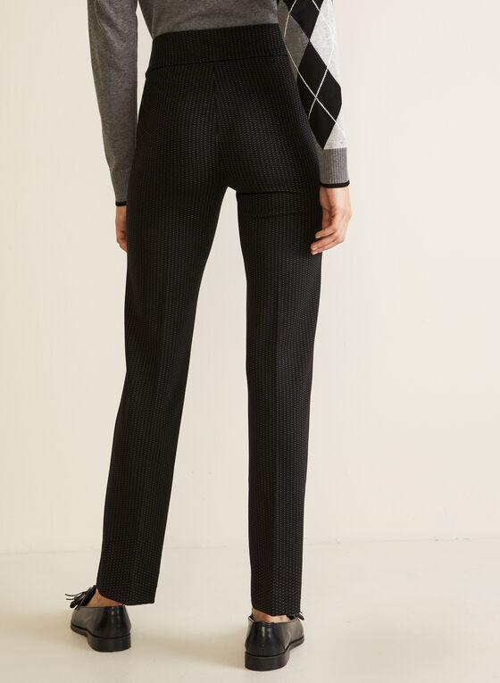 Pantalon motif pois à jambe droite, Noir