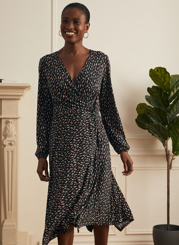Geometric Print Day Dress, Black,  dress, say, geometric print, long sleeves, bubble sleeves, jersey, v-neck, crossover, fit flare, sharkbite, midi, spring summer 2021