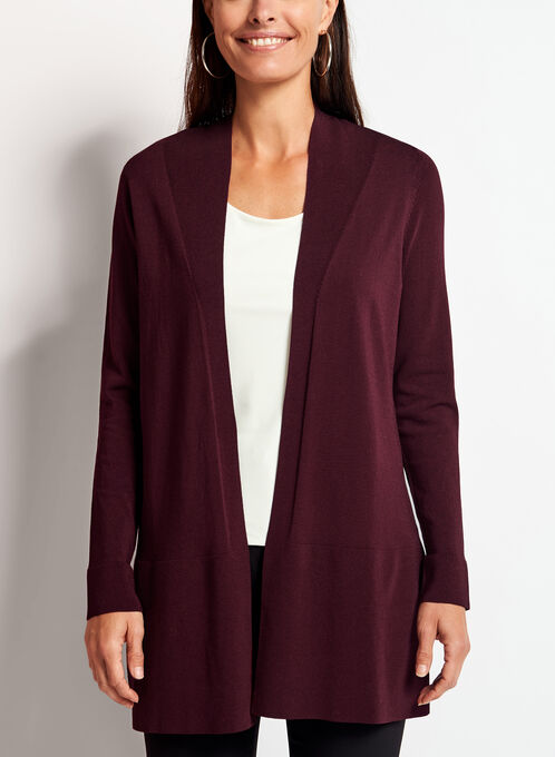 Open Front Side Slit Cardigan , Red, hi-res
