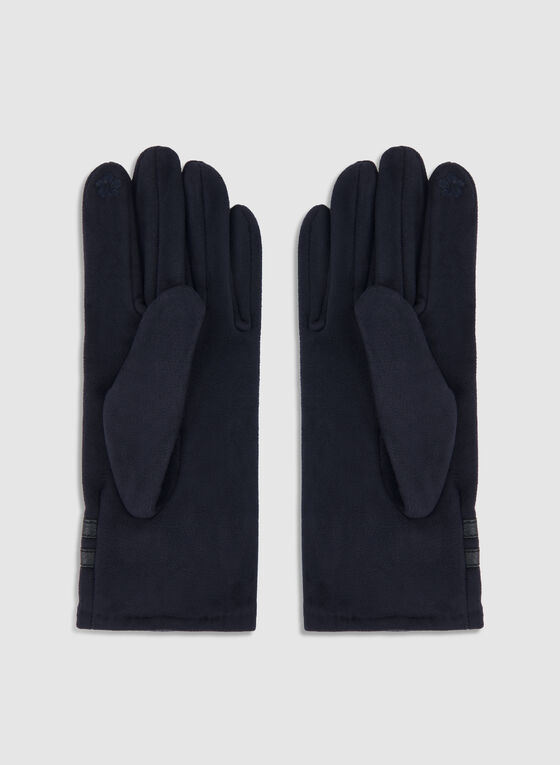 Fake Suede Pearl Gloves, Blue