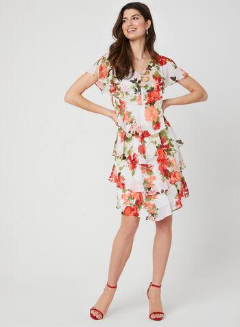 Popover Chiffon Dress, White, hi-res