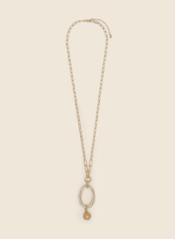 Collier à pendentif ovale et pierres, Blanc cassé