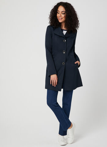 Anne Klein - Notch Collar Coat, Blue, hi-res,  spring 2019