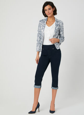 Carreli - Capri en jean à taille pull-on, Bleu, hi-res,  extensible, taille élastique, pull-on, à enfiler, pull on, printemps 2019, pantalon ¾, pantalon 3/4