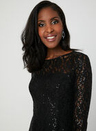 Sequin Lace Fit & Flare Dress, Black, hi-res
