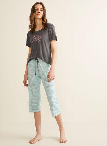 Comfort & Co. - T-Shirt & Capri Pyjama Set, Grey,  pyjamas, set, polka dot, t-shirt, capris, floral, pull-on, short sleeves, spring summer 2020