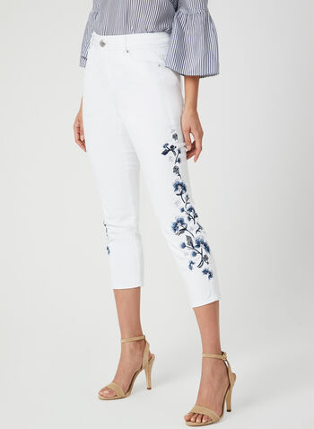 Embroidered Slim Leg Capri Pants, White, hi-res