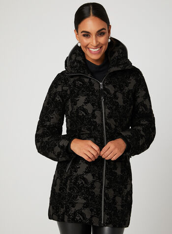 Novelti - Flocked Velvet Faux Down Coat, Black, hi-res