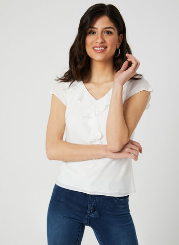 Ruffle Blouse, Off White, hi-res,  short sleeves, canada, spring 2019, V-neck