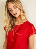 T-shirt à détails satinés et liens élastiqués, Rouge