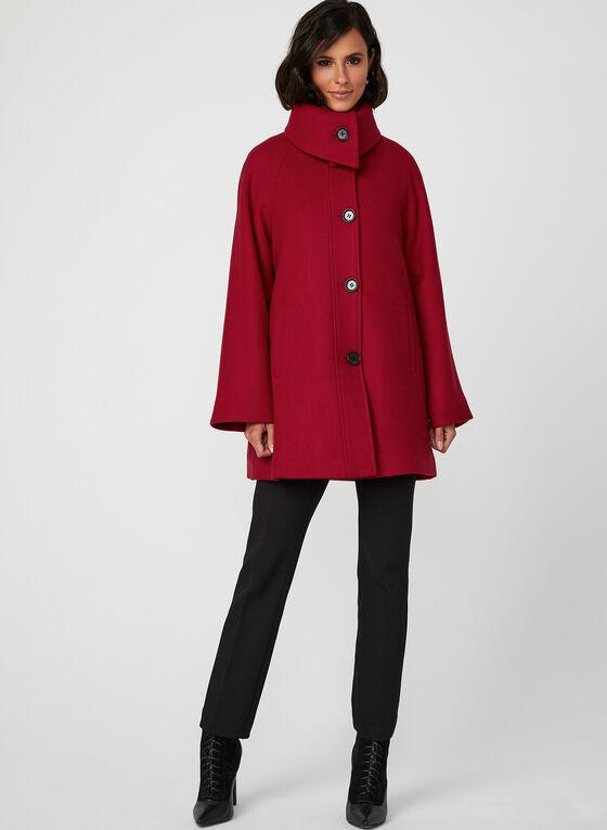 Manteau boutonné en laine mélangée, Rouge, hi-res