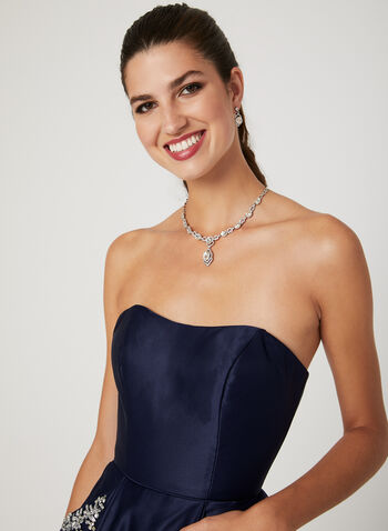 Strapless Satin Party Dress, Blue, hi-res