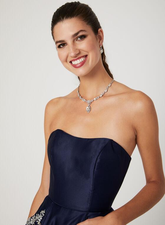 Strapless Satin Party Dress, Blue, hi-res
