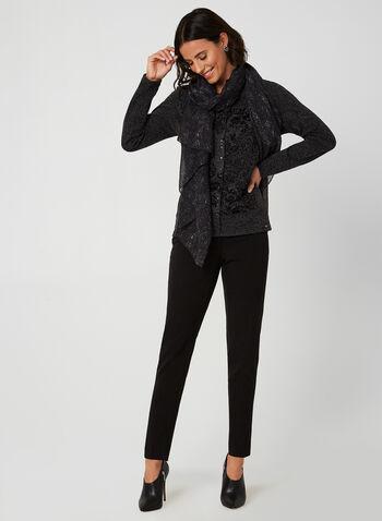 Vex - Paisley Print Long Sleeve Top, Grey, hi-res,  pull, paisley, long sleeves, scoop neck, knit, fall 2019, winter 2019