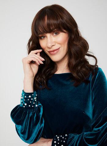 Long Sleeve Velvet Dress, Blue, hi-res,  dress, cocktail dress, long sleeves, pearls, rhinestones, velvet, fall 2019, winter 2019