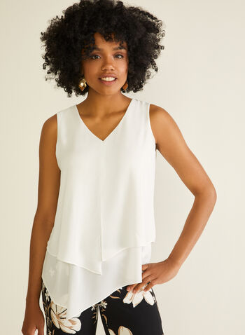 Sleeveless Layered Crepe Blouse, Off White,  blouse, sleeveless, layered, crepe, v-neck, spring summer 2020