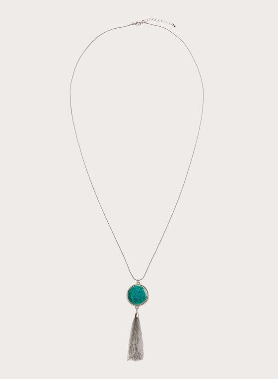 Collier à pendentif pierre et pampille de chaînes, Bleu, hi-res