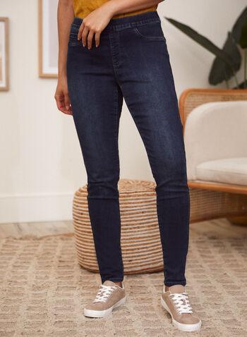 Charlie B - Jean à enfiler, Bleu,  jean, charlie b, à enfiler, taille élastique, jambe étroite, poches, rivets métalliques, denim extensible, printemps été 2021, pantalon, bas