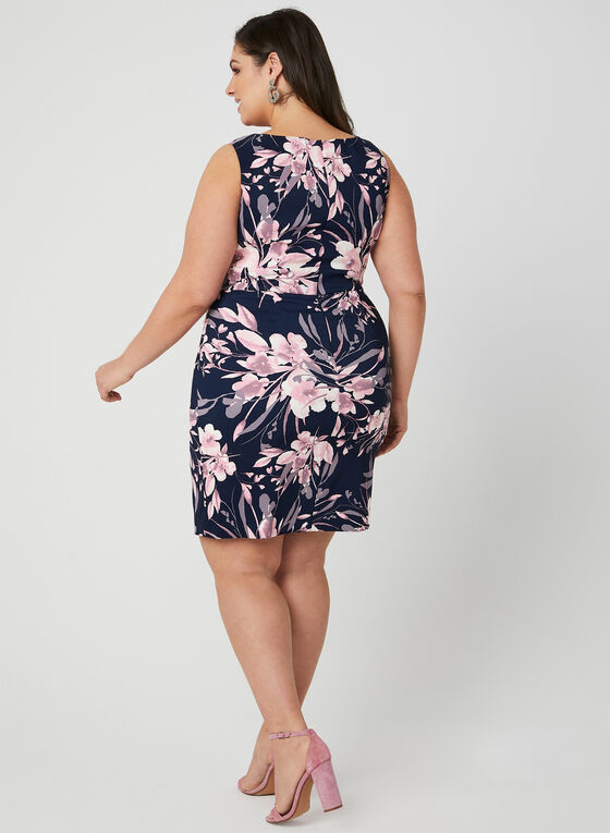 Floral Print Dress, Blue, hi-res