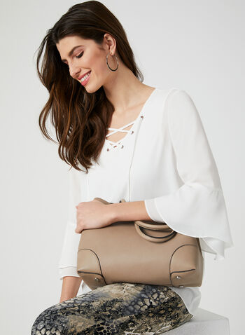 Ruffle Sleeve Chiffon Blouse, Off White, hi-res,  3/4 sleeves, ruffles, lace-up, v-neck, spring 2019