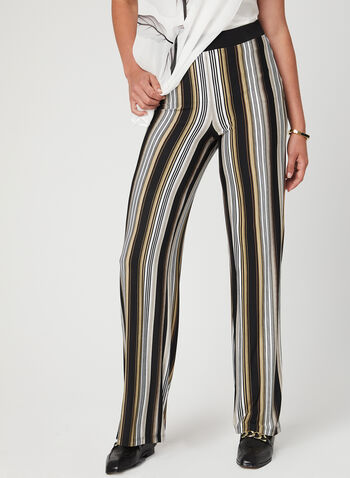 Stripe Print Pull-On Pants, Black, hi-res