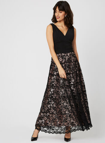 Jersey Bodice Lace Dress, Black, hi-res