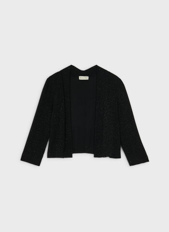 Open Front Glitter Bolero, Black,  bolero, glitter, 3/4 sleeves, fall 2019, winter 2019