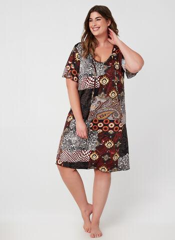 Hamilton - Chemise de nuit motif patchwork, Rouge, hi-res,  pyjama, chemise de nuit, manches courtes, col dégagé, patchwork, automne hiver 2019