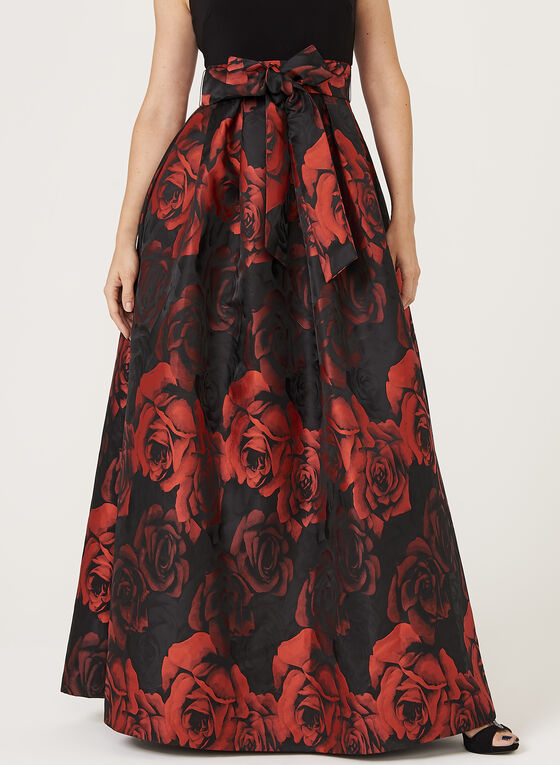 Rose Print Fit & Flare Gown, Black, hi-res
