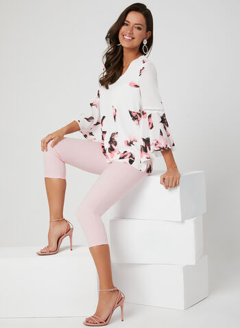 Floral Print Bell Sleeve Top, White, hi-res