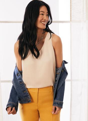 Sleeveless V-Neck Blouse, Off White,  blouse top, layered, v-neck, sleeveless, spring summer 2021