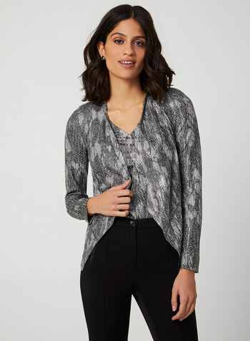 Vex - Abstract Print Long Sleeve Top, Black, hi-res,  top, metallic, abstract print, long sleeves, open front, zipper trim, asymmetrical hemline