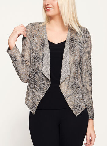 Vex - Abstract Print Open Front Jacket, Brown, hi-res
