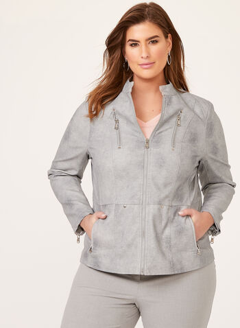 Ness – Faux Brushed Leather Jacket, Grey, hi-res