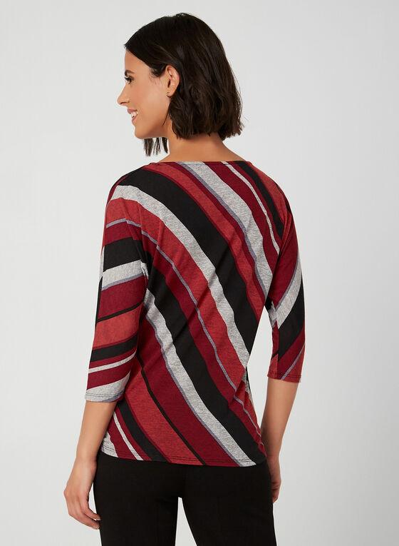 3/4 Sleeves Stripe Top, Red