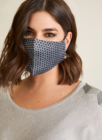 Honeycomb Print Mask With Filters, Black,  fall winter 2020, mask, washable, reusable, fabric, filter, honeycomb