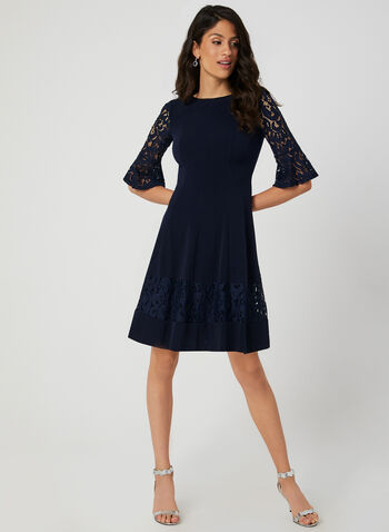 Fit & Flare Lace Sleeve Dress, Blue, hi-res,  ¾ sleeves, 3/4 sleeves, jersey, panelled, fall 2019, winter 2019