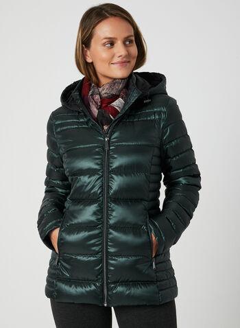 Packable Quilted Down Coat, Green, hi-res,  down coat, packable coat