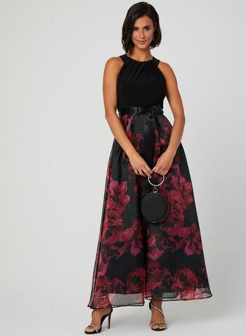 Floral Print Halter Dress, Black, hi-res